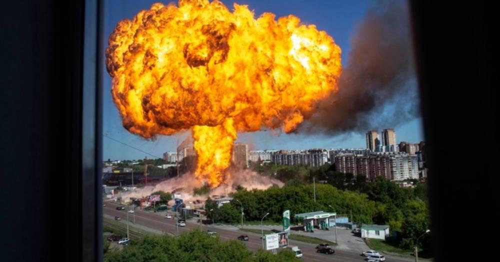 Foto/Video: Novosibirskā pirmdien degvielas uzpildes stacijā spēcīgā sprādzienā ievainoti 34 cilvēki