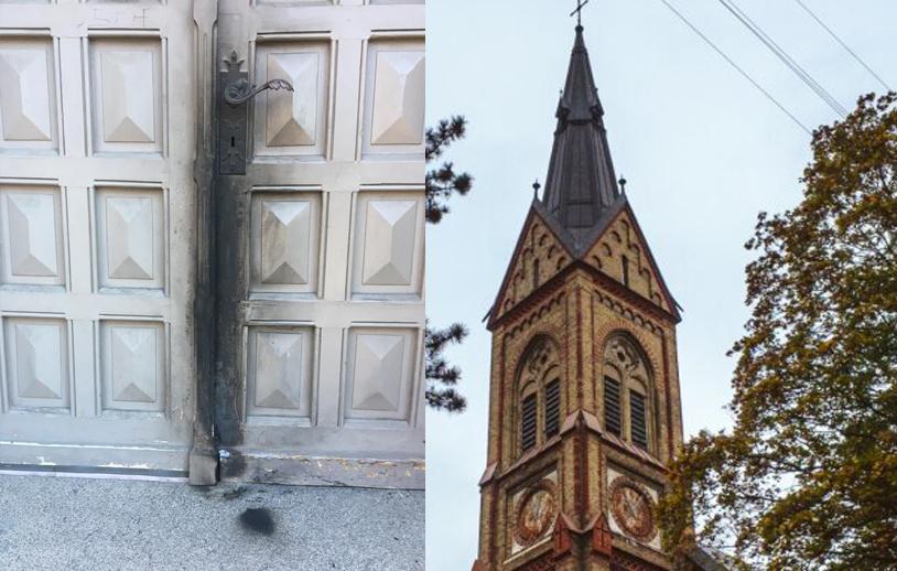 Policija sāk kriminālprocesu par ļaundaru Torņakalna baznīcas ārdurvju aizdedzināšanu