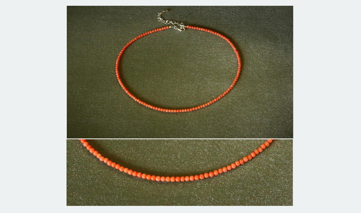10,00 EUR - Guna - Smalku koraļļu īsā kaklarota (čokers)--- Materiāls: Maigi oranžs korallis 2,5mm; furnitūra sudraba krāsā; karabīnveida aizdare;  Kaklarotas garums 43 cm+5cm pagarinājums.